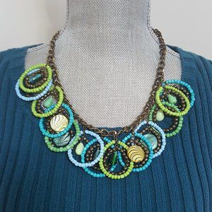 STEPHAN & CO BRASS PLATED STATEMENT NECKLACE